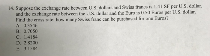 Suppose The Exchange Rate Between U S Dollars And Swiss Francs Is 1 41 Sf Per
