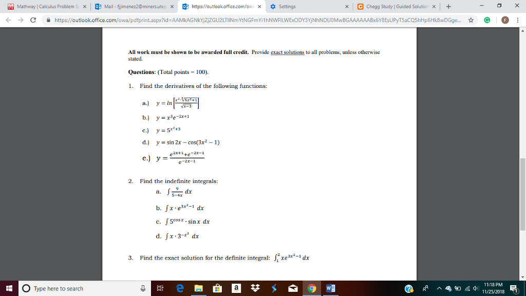 Solved: Mathway Calculus Problems O Mail Fijmenez2@miner U ... on