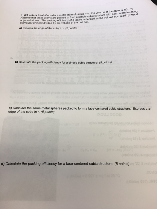 1 20 Points Total Consider A Metal Atom So The Volume Of