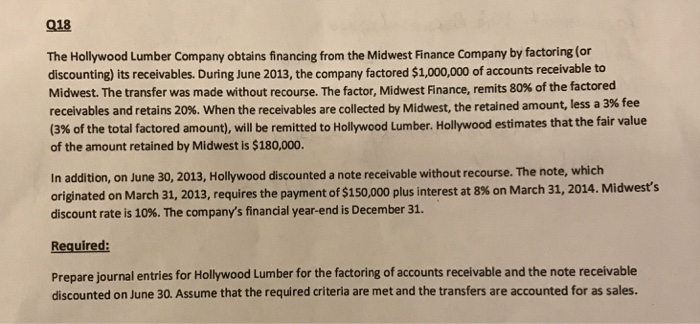 Solved: 018 The Hollywood Lumber Company Obtains Financing
