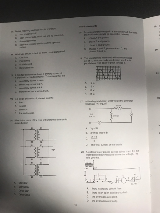 Solved: Test Instruments 70. Belore Repaining Electrical C ... on 3 phase delta with ground, 3 phase wiring schematic, 3 phase open delta, 3 phase nec color code, 3 phase motor connection diagram, 3 phase sine wave diagram, 3 phase service entrance diagram, 3 phase y wiring-diagram, 3 phase delta phasor diagram, 3 phase power, 3 phase delta transformer, 480 volt delta diagram, delta connection diagram, 3 phase wye-delta diagram, open delta diagram, 3 phase delta vs wye, 3 phase delta generator, 3 phase system, 3 phase delta corner ground, 3 phase motor circuit diagram,