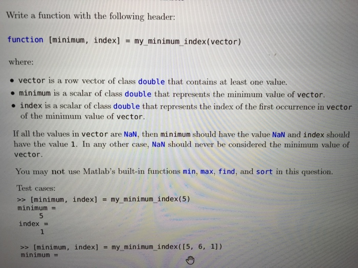 Solved: How To Write Matlab Function To Find The Minimum V