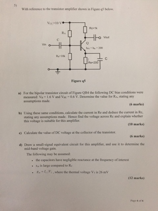 Solved: With Reference To The Transistor Amplifier Shown I