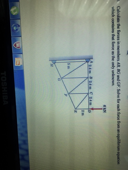 Solved: Calculate The Forces In Members AB, BG And GF. Sol ...