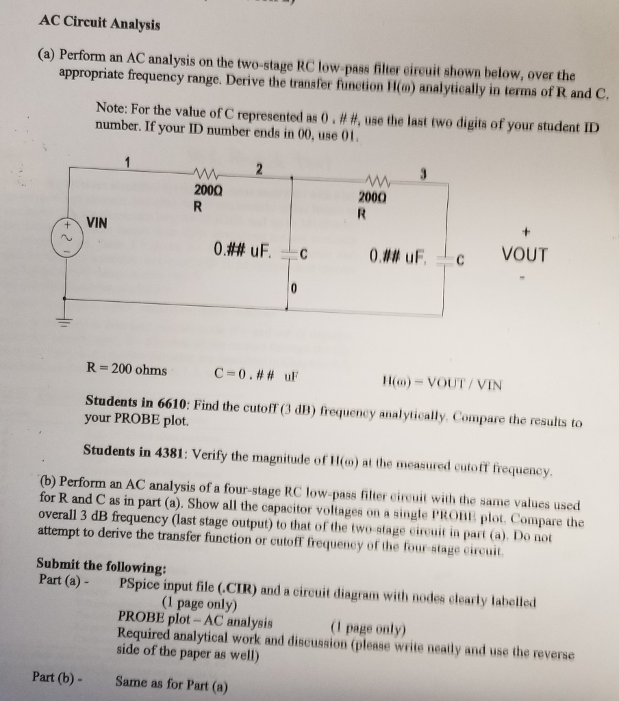 Solved C082uf I Just Need The Calculations To Find Rc Low Pass Filter Circuit Ac Analysis A Perform An On Two Stage