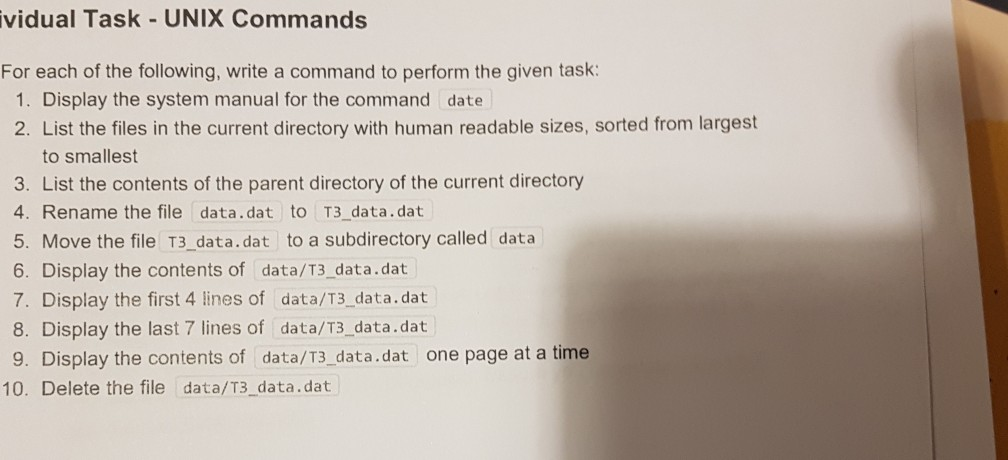Solved: Vidual Task-UNIX Commands For Each Of The Followin
