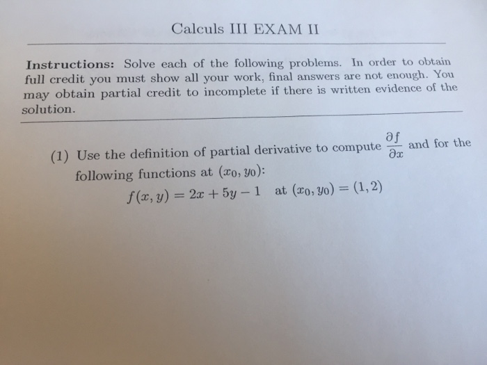 Solved Calculs Iii Exam Ii Instructions Solve Each Of Th