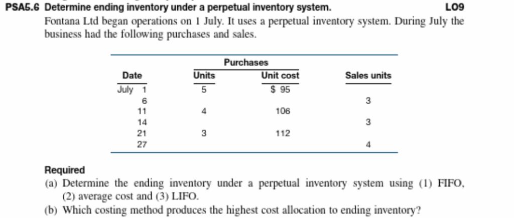 PSAS.6 Determine ending inventory under a perpetual inventory system. LO9 Fontana Ltd began operations on 1 July. It uses a p
