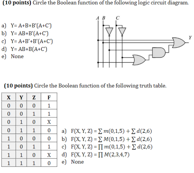 (10 points) circle the boolean function of the following logic circuit  diagram  a b c