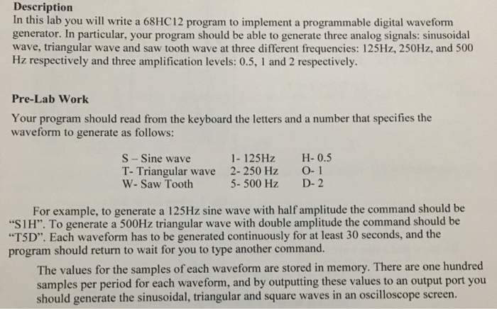 Description In This Lab You Will Write A 68HC12 Pr
