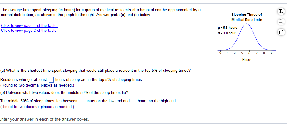Question The Average Time Spent Sleeping In Hours For A Group Of Medical Residents At A Hospital Can Be