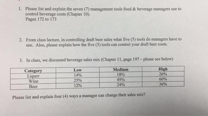 Please List And Explain The Seven 7 Management Tools Food Beverage