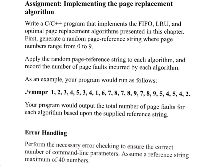 Solved: Assignment: Implementing The Page Replacement Algo