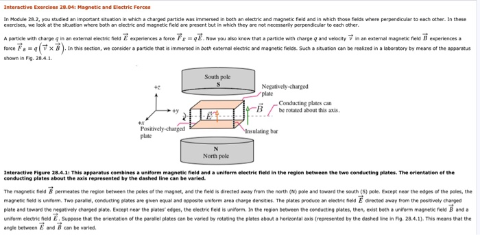 Interactive Exercises 28 04 Magnetic And Electric Forces In Module 2 You Stud An Important