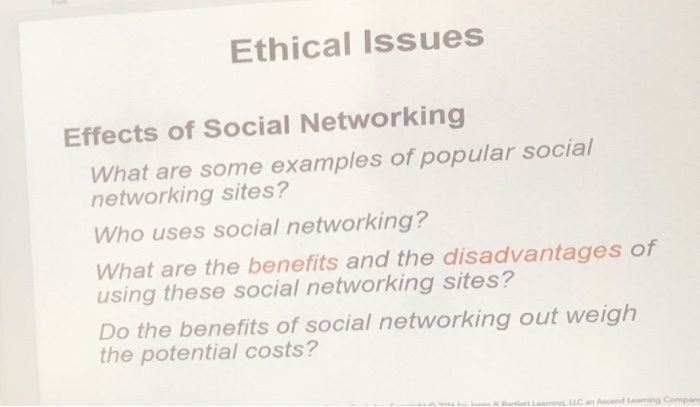 Solved: Ethical Issues Effects Of Social Networking What A