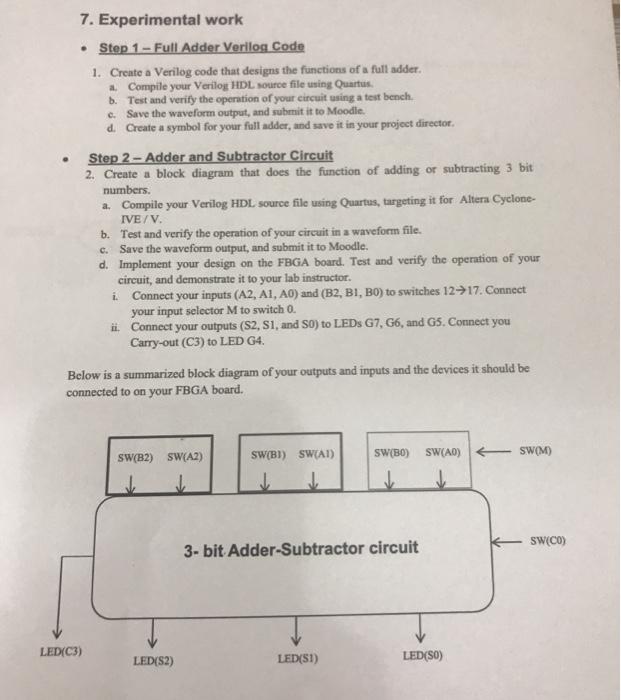 Solved: 7  Experimental Work Step 1-Full Adder Verilog Cod
