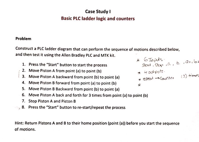 Case Study Basic PLC ladder logic and counters Problem Construct a PLC ladder diagram that can perform the sequence of motions described below, and then test it using the Allen Bradley PLC and MTK kit 1. Press the Start button to start the process 2. Move Piston A from point (a) to point (b) 3. Move Piston A backward from point (b) to point (a) 4. Move Piston B forward from point (a) to point (b) 5. Move Piston B Backward from point (b) to point (a) 6. Move Piston A back and forth for 3 times from point (a) to point (b) 7. Stop Piston A and Piston B , 8. Press the Start button to re-start/repeat the process Hint: Return Pistons A and B to their home position (point (a)) before you start the sequence of motions