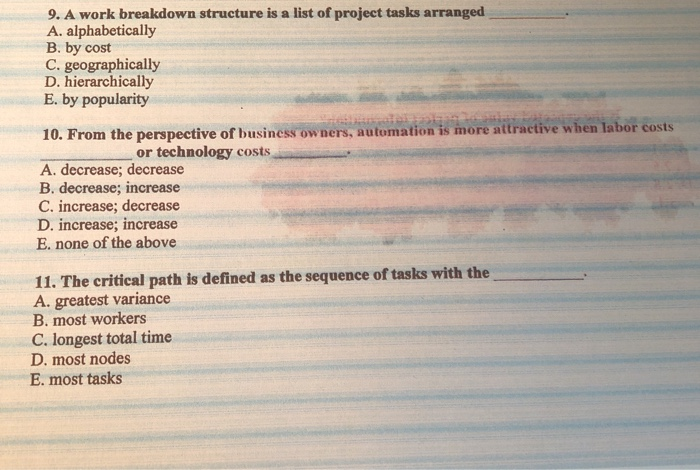 Solved: 9  A Work Breakdown Structure Is A List Of Project