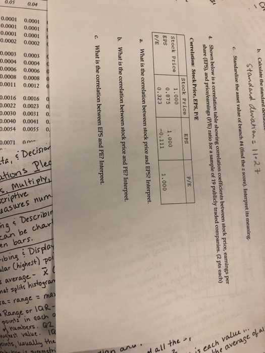 Solved: B  Calculate The Standard Der Au Standand Dunana