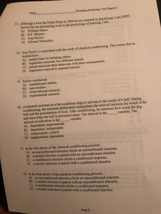 Solved: Presenting Psychology Test Chapter 5 Name 7  To Wh