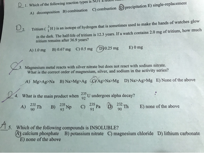 Solved: Ledi D1  Which Of The Following Reaction Types Is
