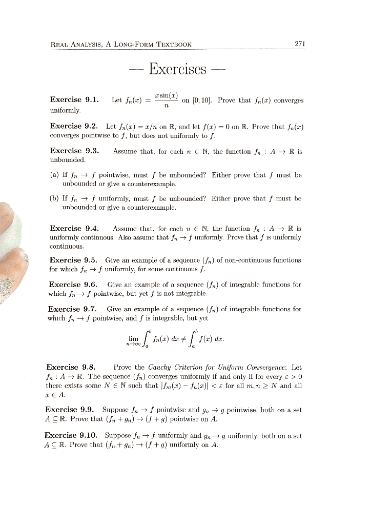 Solved: REAL ANALYSIS, A LONG-FORM TEXTBOOK 271 Exercises