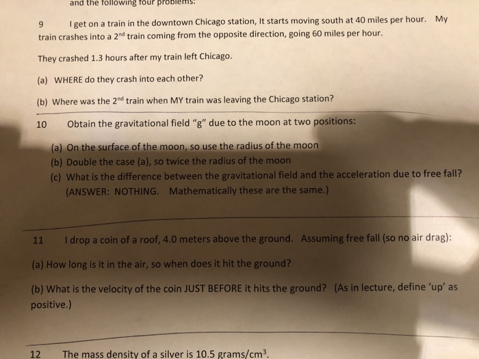 Solved: And The Following Four Problems My 9 Get On A Trai