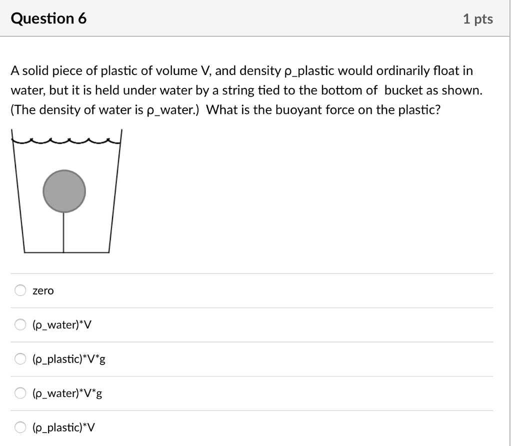 Density Of Plastic >> Solved Question 6 1 Pts A Solid Piece Of Plastic Of Volum