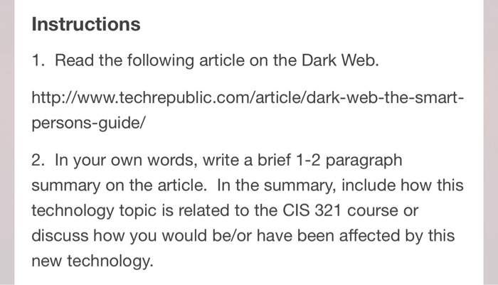 Solved: Read The Article On The Link Below About The Dark