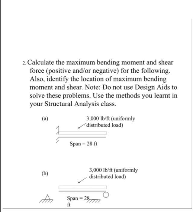 d73e1b95a62 2. Calculate the maximum bending moment and shear force (positive and/or  negative