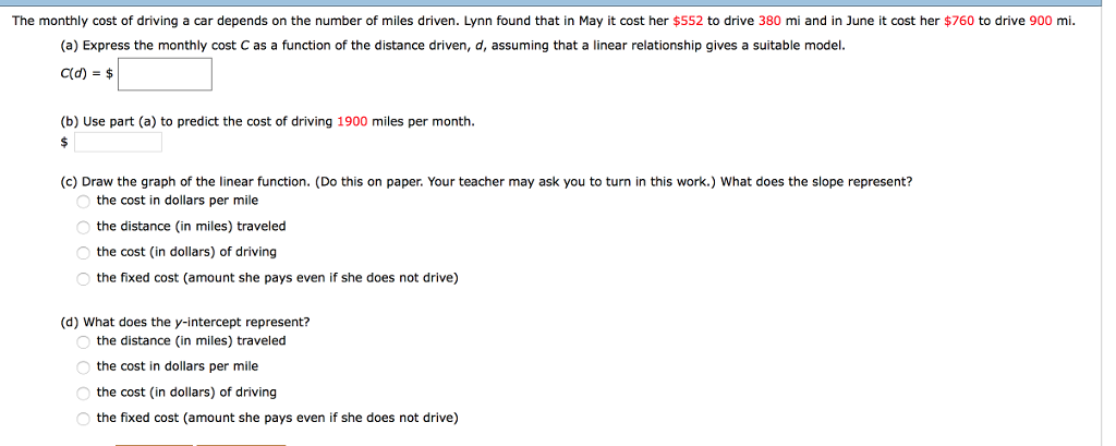 The Monthly Cost Of Driving A Car Depends On Number Miles Driven Lynn
