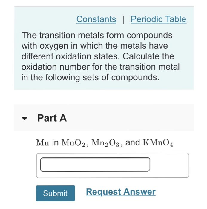 Solved Constants Periodic Table The Transition Metals F