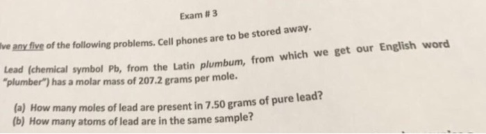 Solved Lead Chemical Symbol Pb From The Latin Plumbum