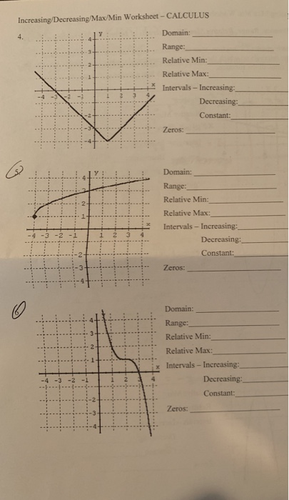 Solved: : Increasing/Decreasing/Max/Min Worksheet-CALCULUS ...