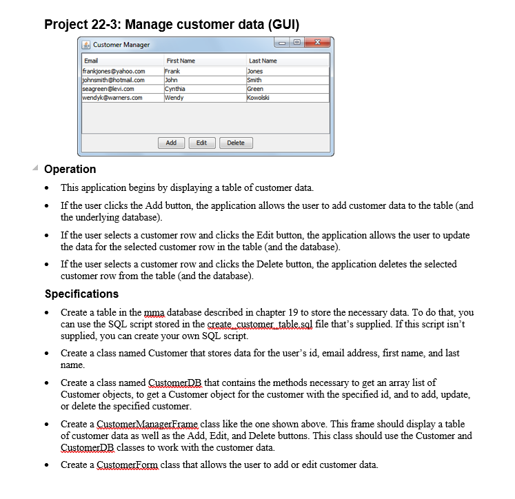 Solved: Project 22-3: Manage Customer Data (GUI) Customer