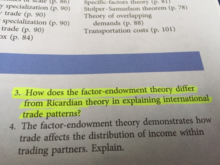 factor endowment theory of international trade