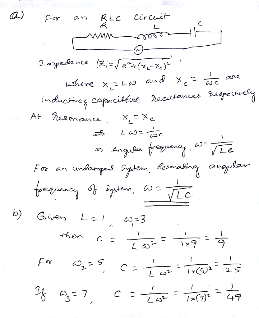 Greetings I Need Help Solving Question 2345 In What Is The Resonance Frequency Of Circuit T Cheggcom Auc Ihere Mauc As An Und Tean A Lc Te C