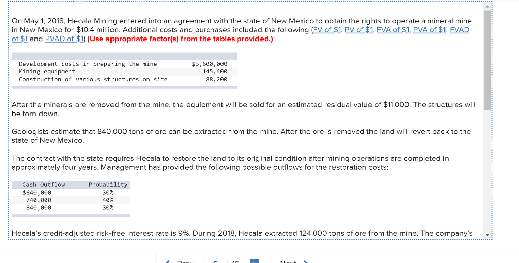 Solved On May 1 2018 Hecala Mining Entered Into An Agre