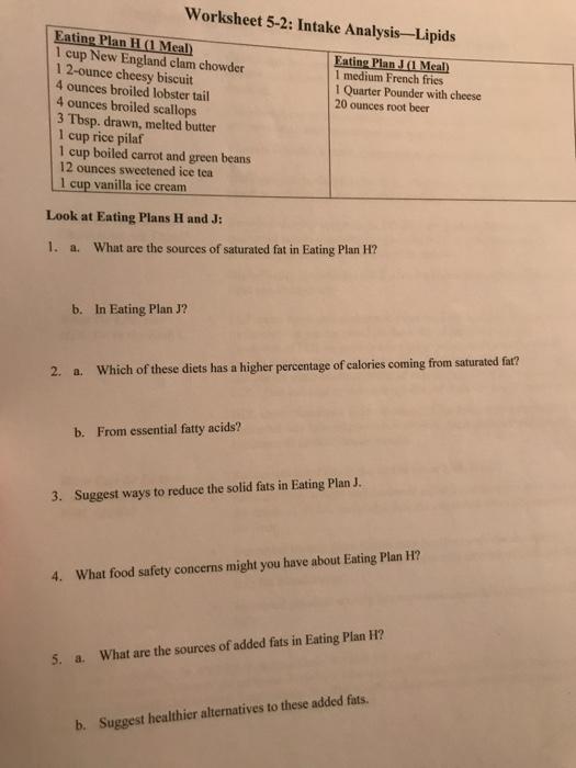 worksheet 2-2 intake analysis-more diet plan answer key