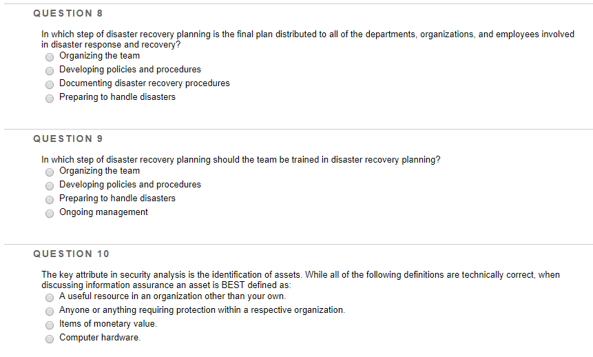 Solved: QUESTION 8 In Which Step Of Disaster Recovery Plan