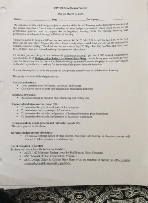 CIV 360 Mini Design Project Due On March 9,2018 Na