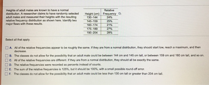 fca92a2e663b Identify two major flaws with these results. Heights of adult males are  known to have a normal distribution. A researcher claims to