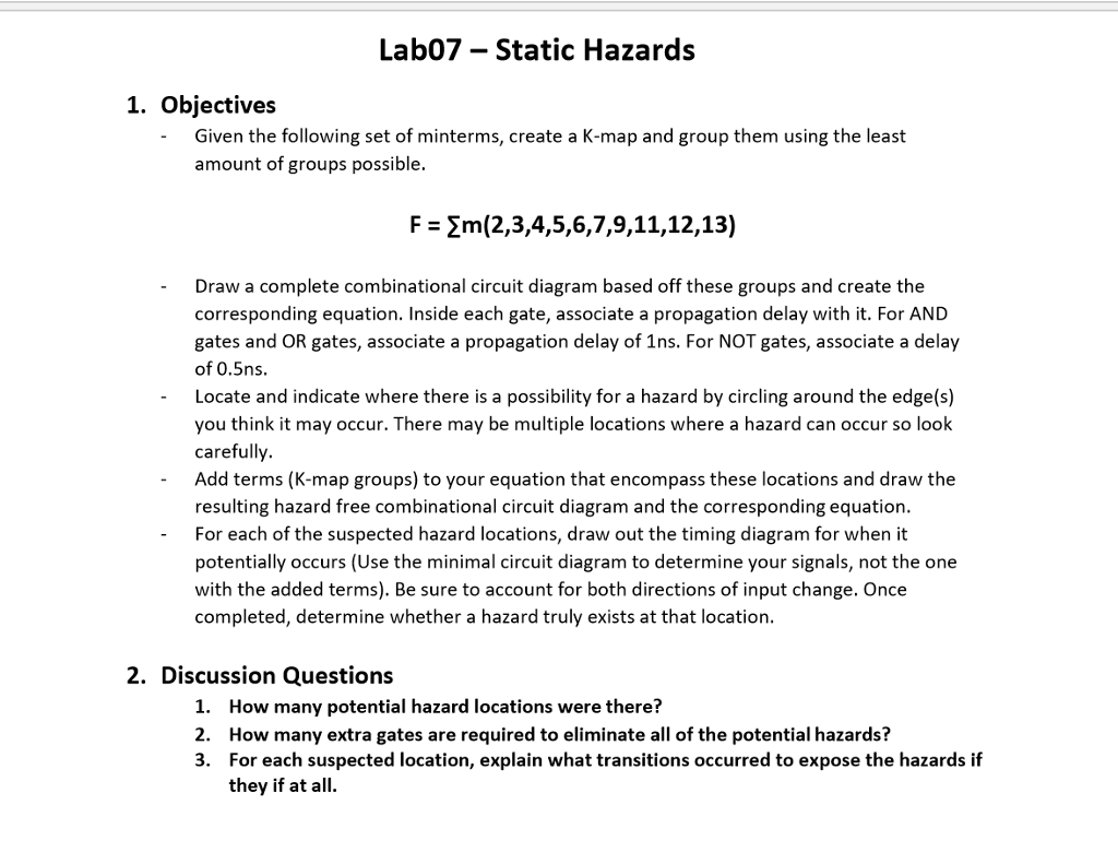Lab07 Static Hazards 1 Objectives Given The Fol K Map Circuit Diagram Following Set Of Minterms Create A