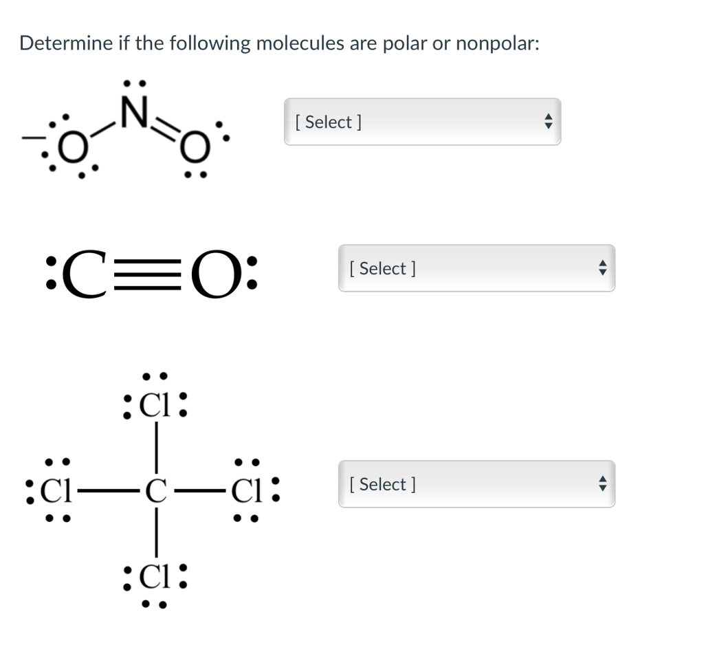 Solved Determine If The Following Molecules Are Polar Or Chegg Com