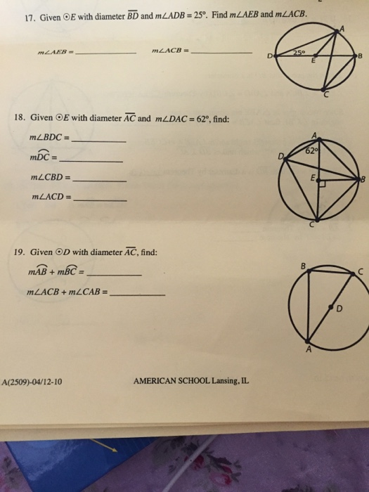 Solved: 17. Given OE With Diameter BD And MLADB-25°. Find ...