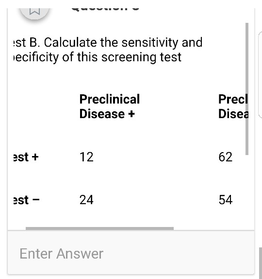 st B. Calculate the sensitivity and ecificity of this screening test Preclinical Disease + Precl Disea est + 12 62 est 24 54 Enter Answer
