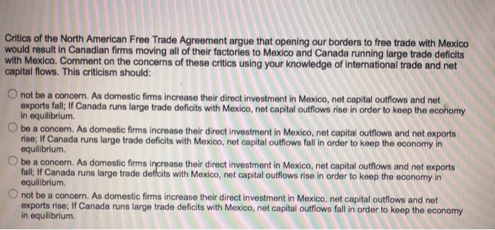 Solved Critics Of The North American Free Trade Agreement
