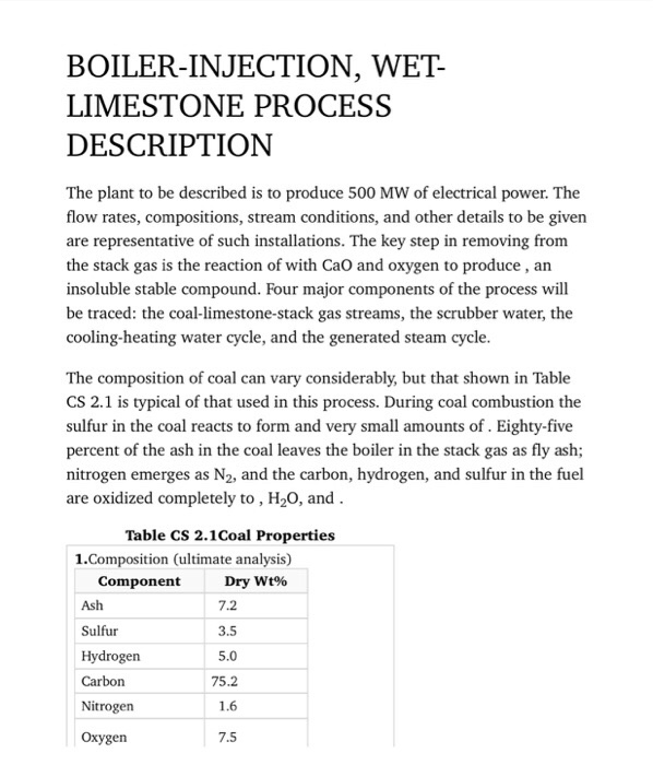 Solved: BOILER-INJECTION, WET- LIMESTONE PROCESS DESCRIPTI ...