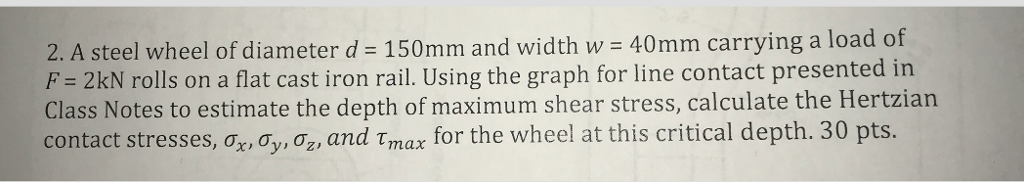 Solved: 2  A Steel Wheel Of Diameter D 150mm And Width W 4