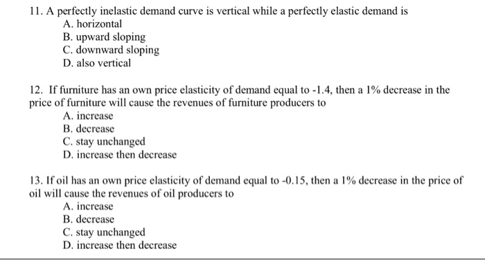 Solved 11 A Perfectly Inelastic Demand Curve Is Vertical